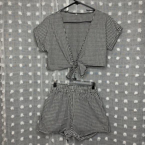 Plaid Crop Top & Shorts Set
